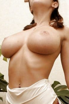 Perfect big boobs of young brunette All